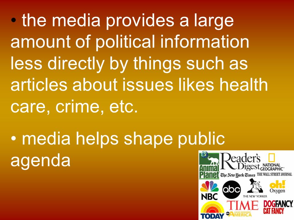 the influence of media in polls and politics How does mass media affect public opinion a: thus, the media makes national politics mass media has a positive influence on public opinion when it helps.