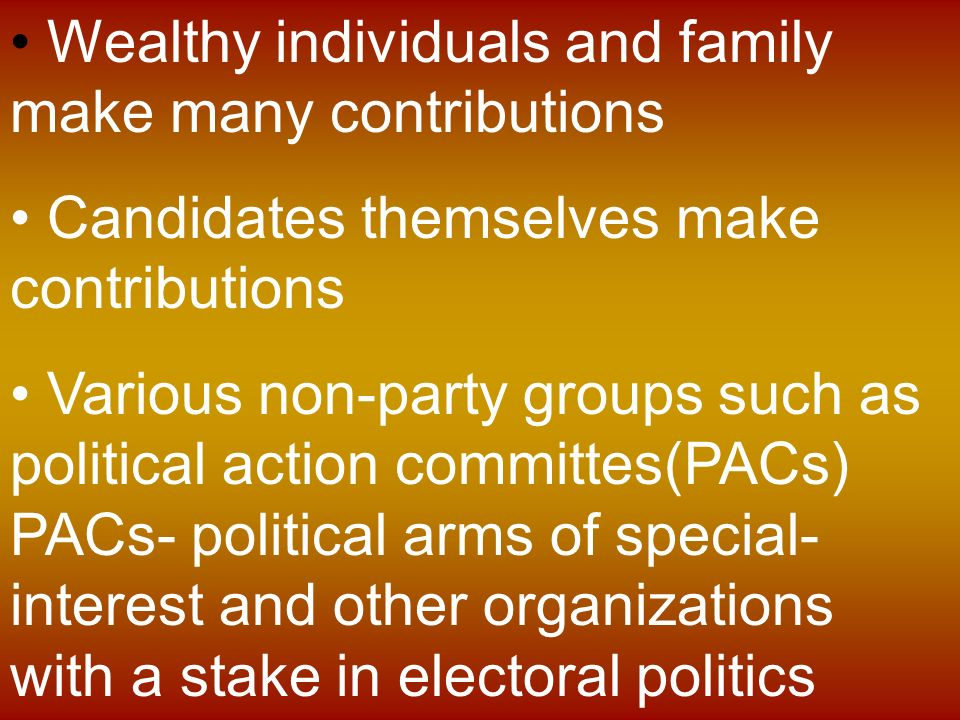 the influence of political action committees in the outcome of an election In the united states, a political action committee (pac) is a type of organization that pools campaign contributions from members and donates those funds to campaign for or against candidates, ballot initiatives, or legislation the legal term pac has been created in pursuit of campaign finance reform in the united states.