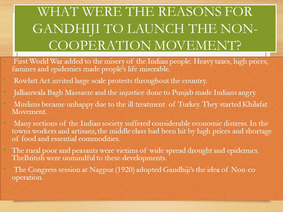 WHAT WERE THE REASONS FOR GANDHIJI TO LAUNCH THE NON- COOPERATION MOVEMENT