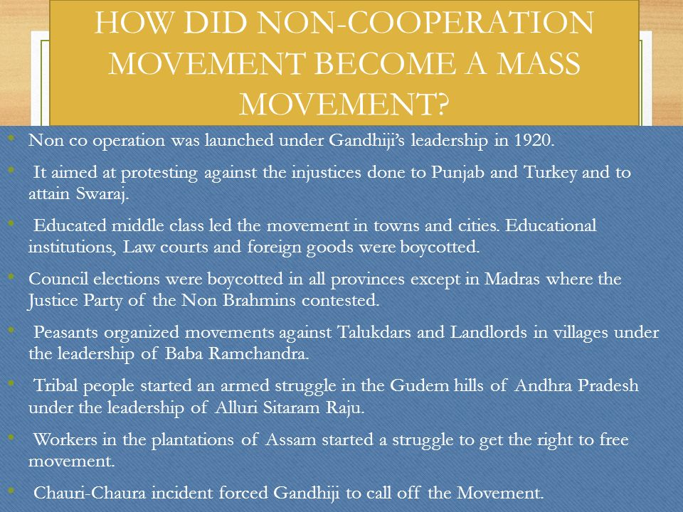 HOW DID NON-COOPERATION MOVEMENT BECOME A MASS MOVEMENT