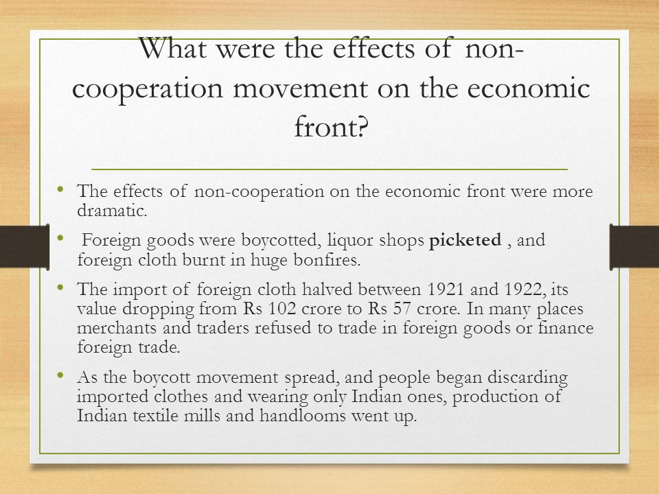 What were the effects of non-cooperation movement on the economic front