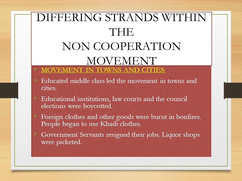 DIFFERING STRANDS WITHIN THE NON COOPERATION MOVEMENT