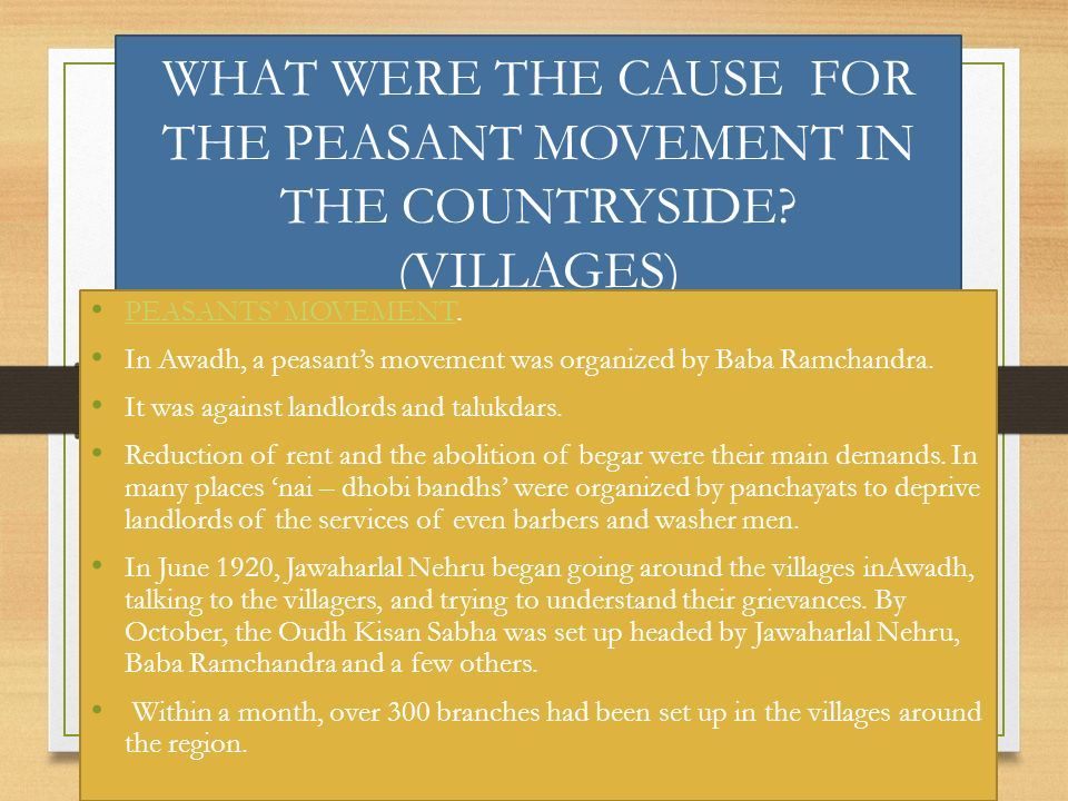 WHAT WERE THE CAUSE FOR THE PEASANT MOVEMENT IN THE COUNTRYSIDE