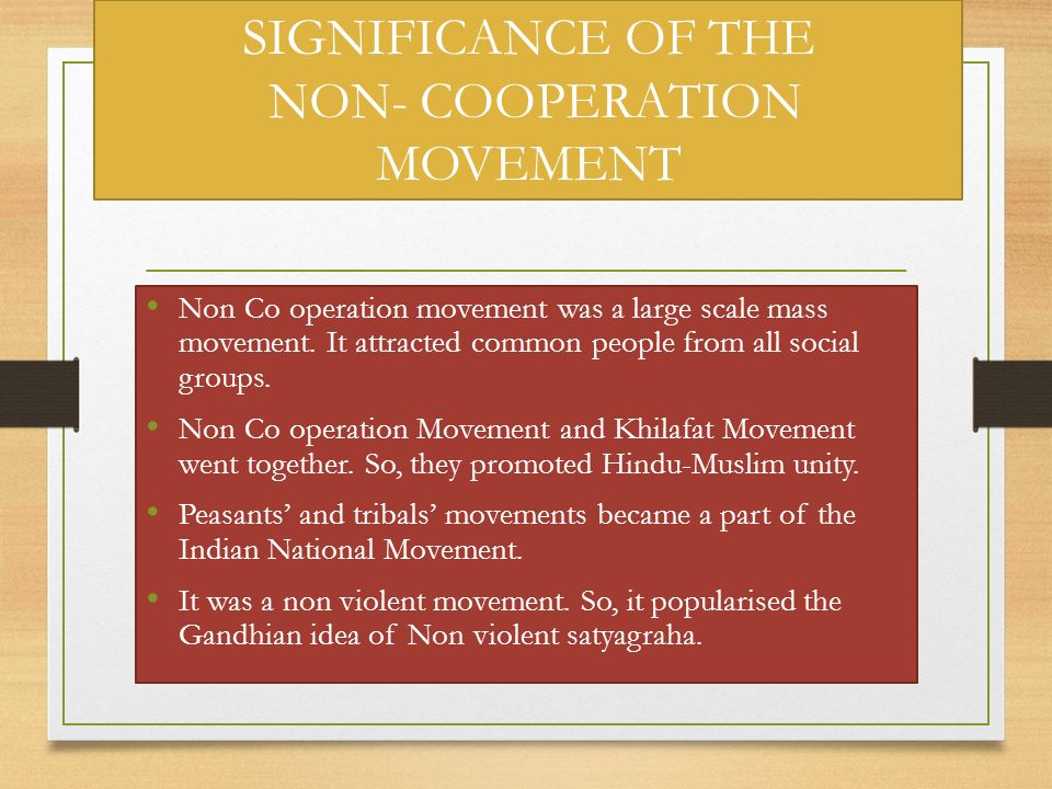 SIGNIFICANCE OF THE NON- COOPERATION MOVEMENT