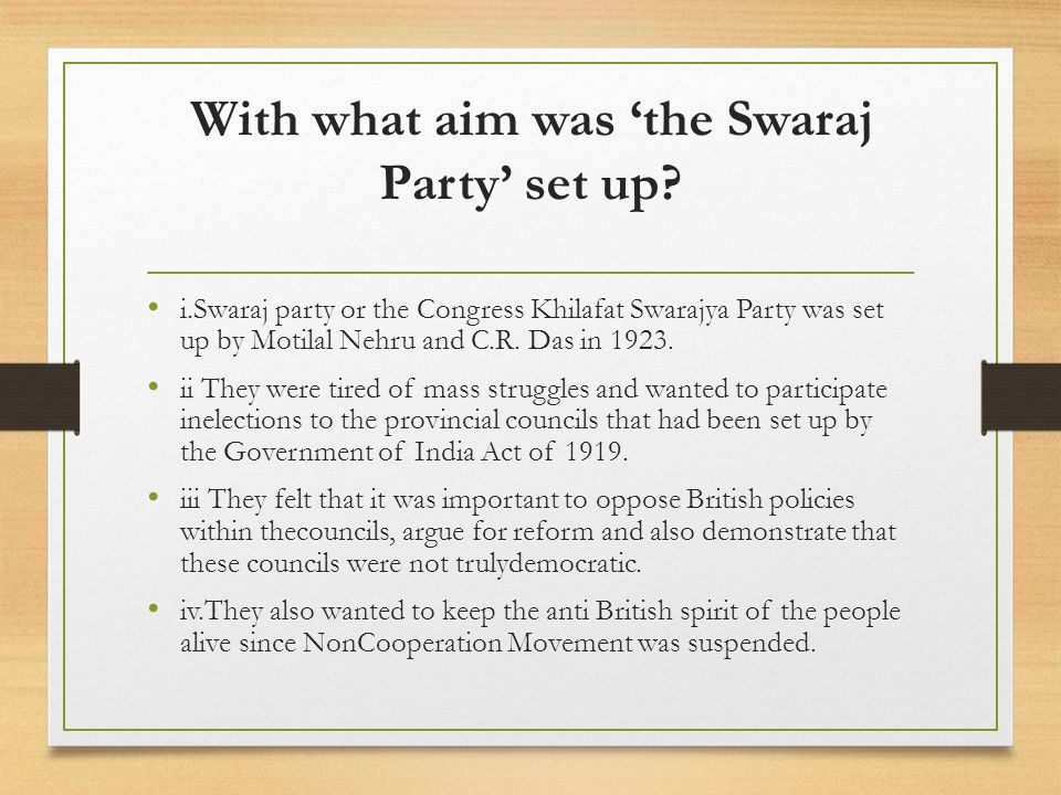 With what aim was 'the Swaraj Party' set up