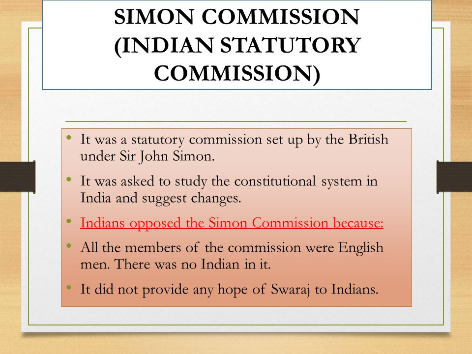 SIMON COMMISSION (INDIAN STATUTORY COMMISSION)