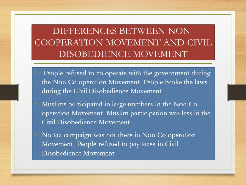DIFFERENCES BETWEEN NON-COOPERATION MOVEMENT AND CIVIL DISOBEDIENCE MOVEMENT