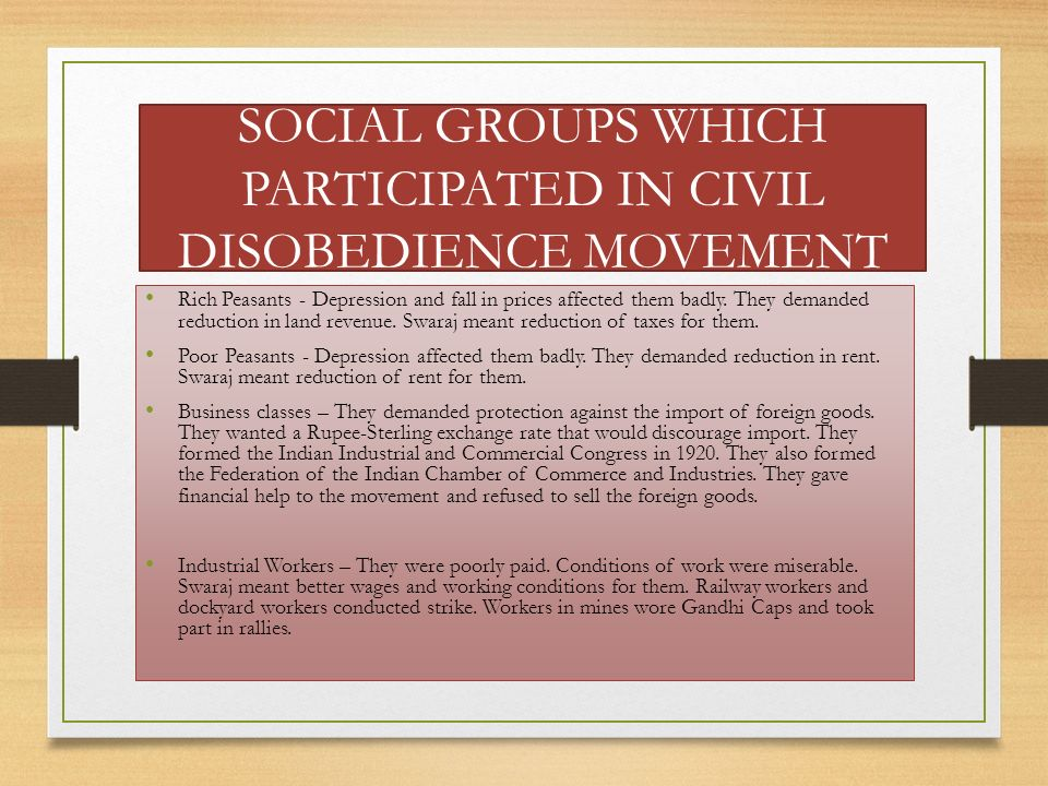 SOCIAL GROUPS WHICH PARTICIPATED IN CIVIL DISOBEDIENCE MOVEMENT