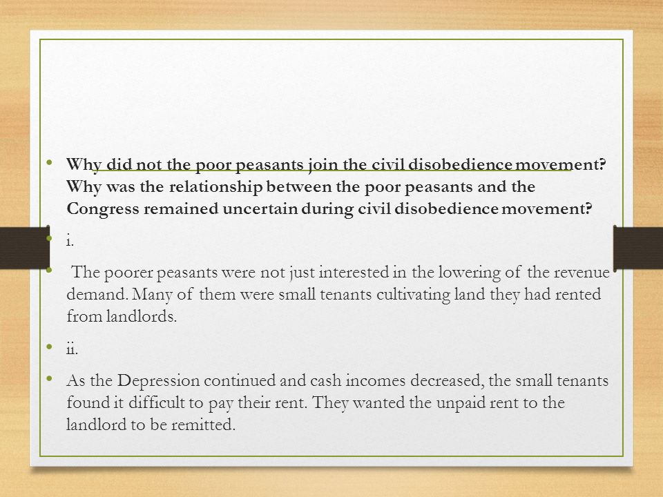 Why did not the poor peasants join the civil disobedience movement