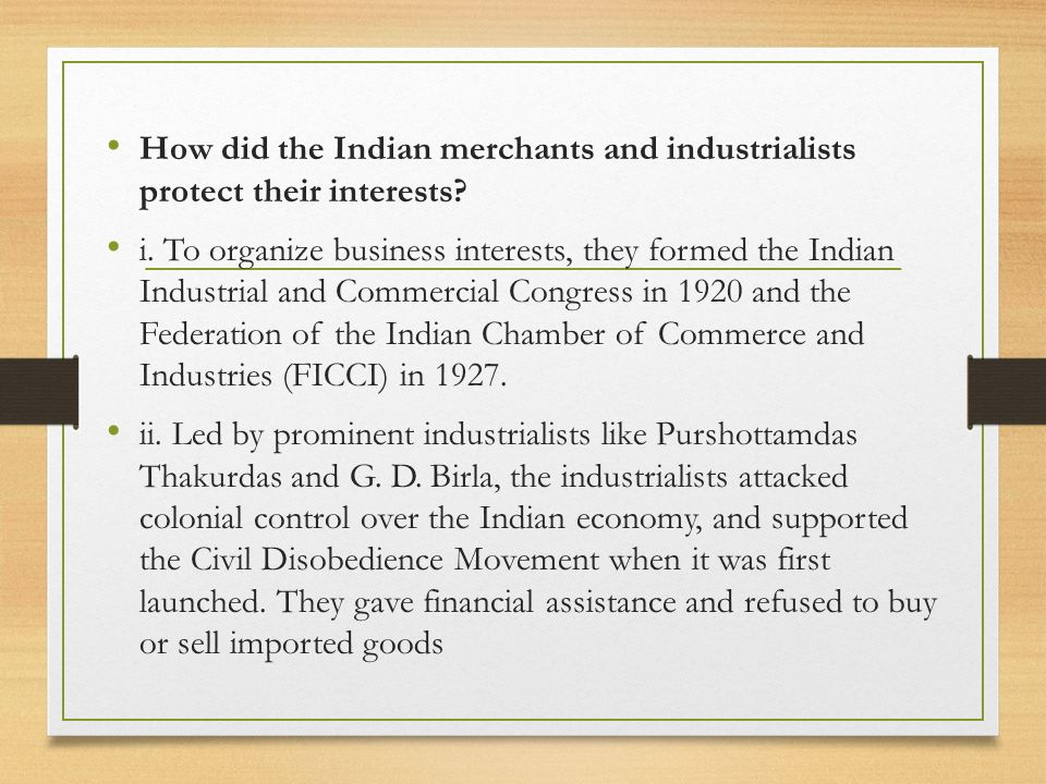 How did the Indian merchants and industrialists protect their interests