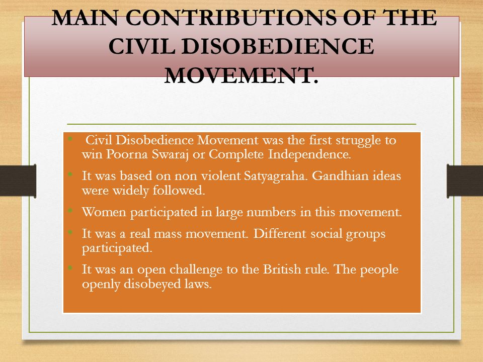 MAIN CONTRIBUTIONS OF THE CIVIL DISOBEDIENCE MOVEMENT.