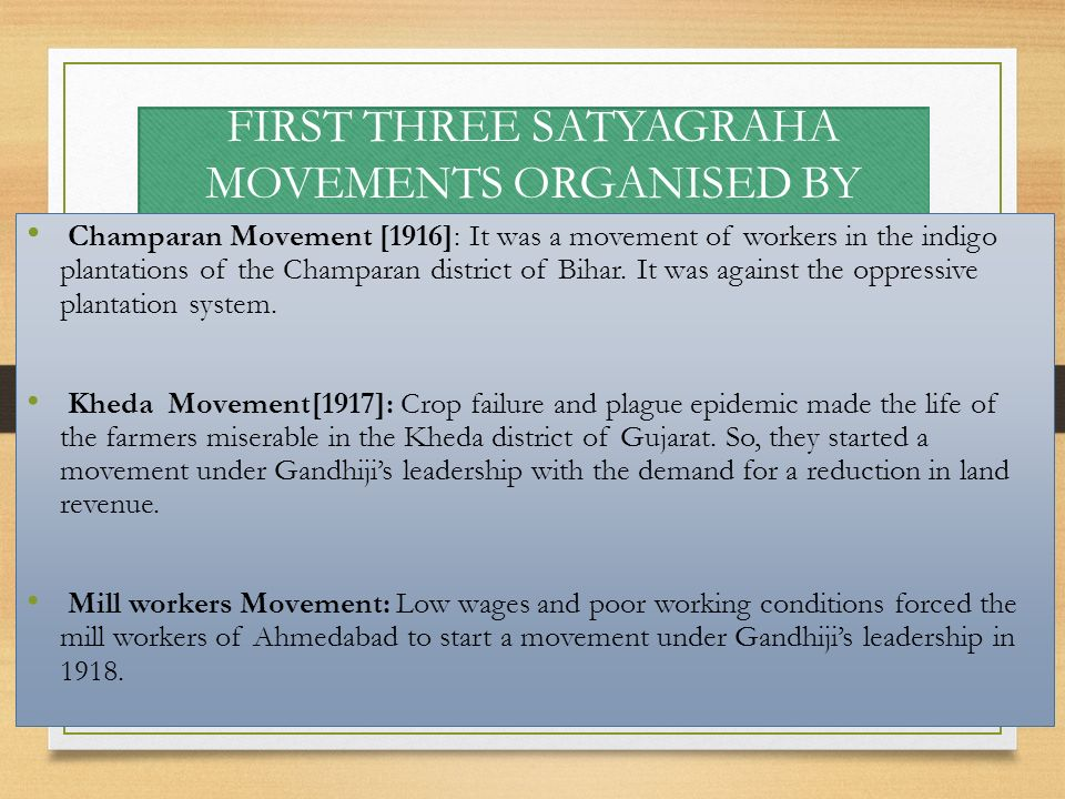 FIRST THREE SATYAGRAHA MOVEMENTS ORGANISED BY GANDHIJI IN INDIA