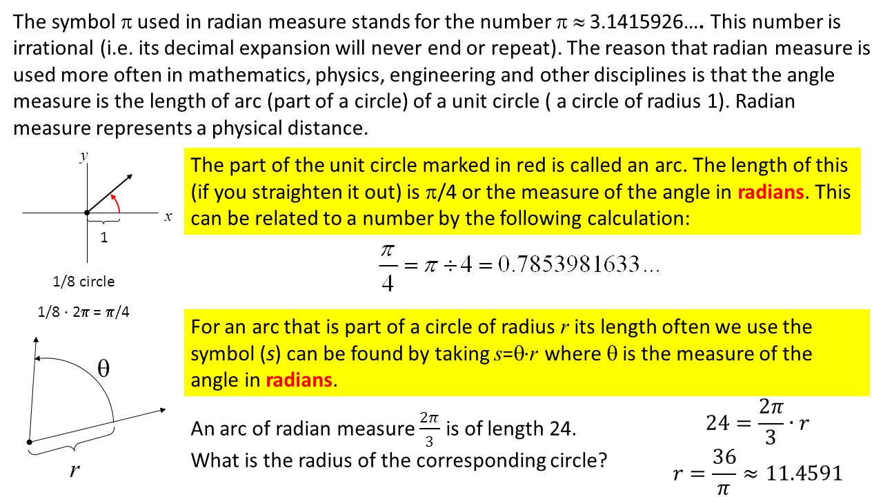 Section 61 radian measure ppt video online download 3 the symbol buycottarizona Image collections