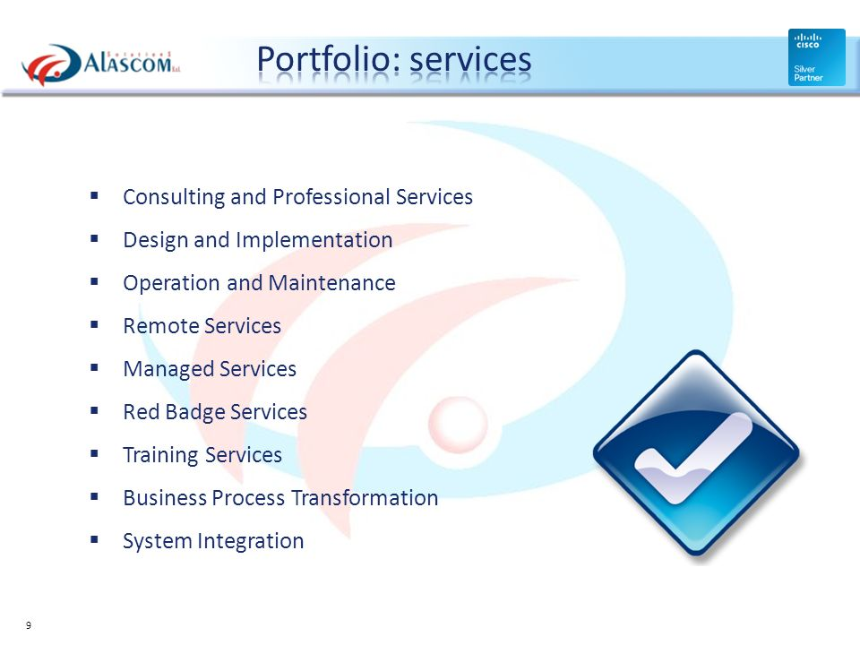 Portfolio: services Consulting and Professional Services