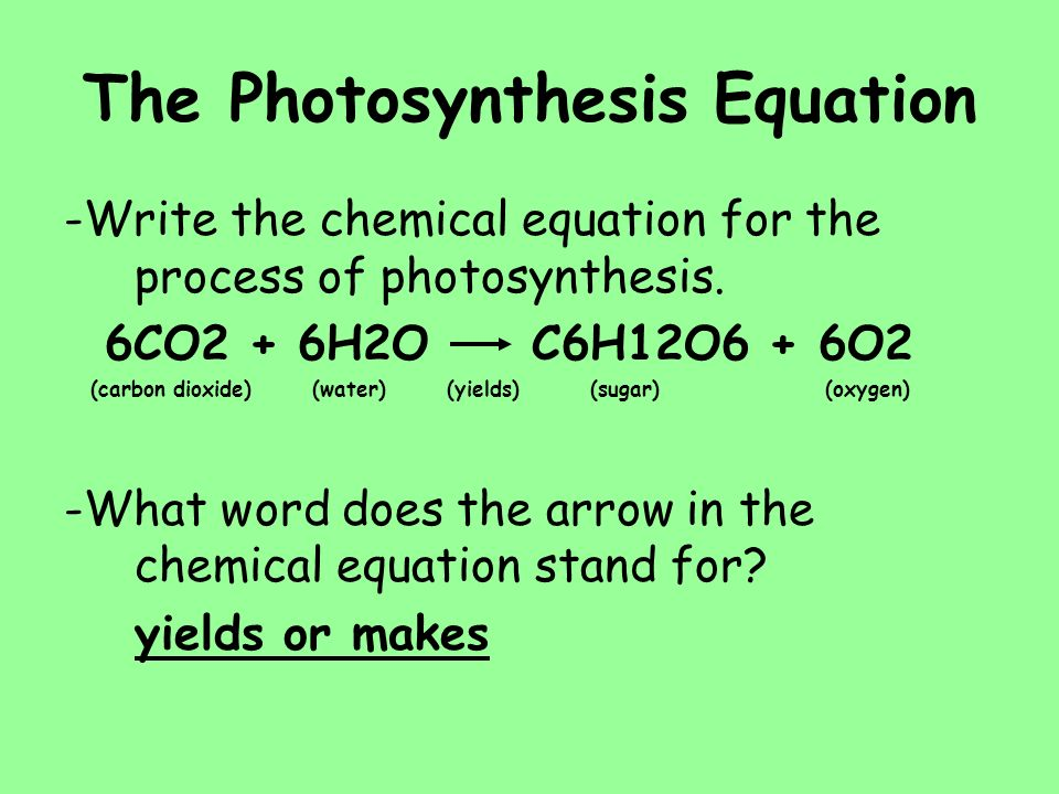 phtosynthesis equation The most general chemical equation for oxygen based photosynthesis is as follows: co2 + h2o + photons -- ch2o + o2 this can be read as carbon dioxide plus water plus photons (energy from sunlight) gives a carbohydrate (ch2o) and oxygen you are probably looking for standard plant photosynthesis to make glucose.