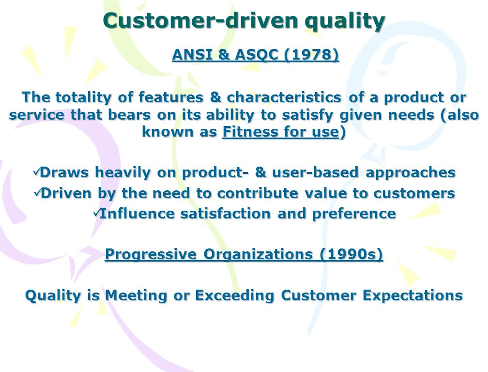 customer driven quality paper Sas hite paper by improving access to customer feedback across silos, integrating information  • develop a way to measure customer-driven quality across the.