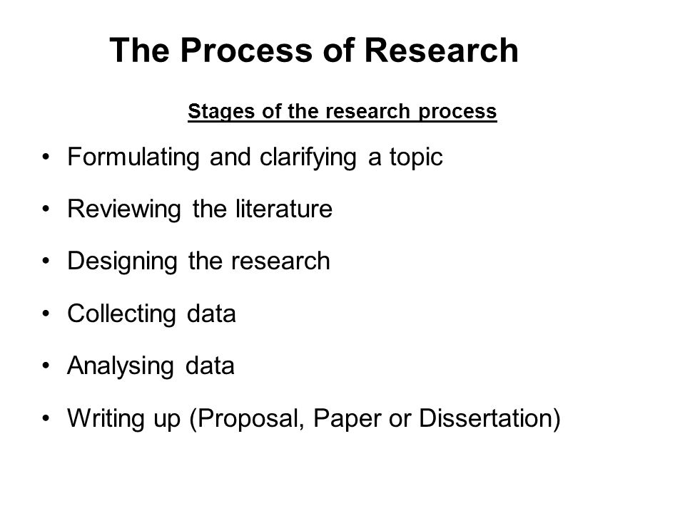 stages of the research process for carrying out a dissertation Step seven data analysis at this stage in the dissertation process if you are unable to clearly follow your plan and carry out your research in the.