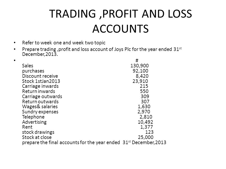 trading profit loss account and A trading account sheet shows the results of the buying and selling of goods this sheet is prepared to demonstrate the difference between selling price and cost price the trading account tally is prepared to show the trading results of the business, eg gross profit earned or gross loss.