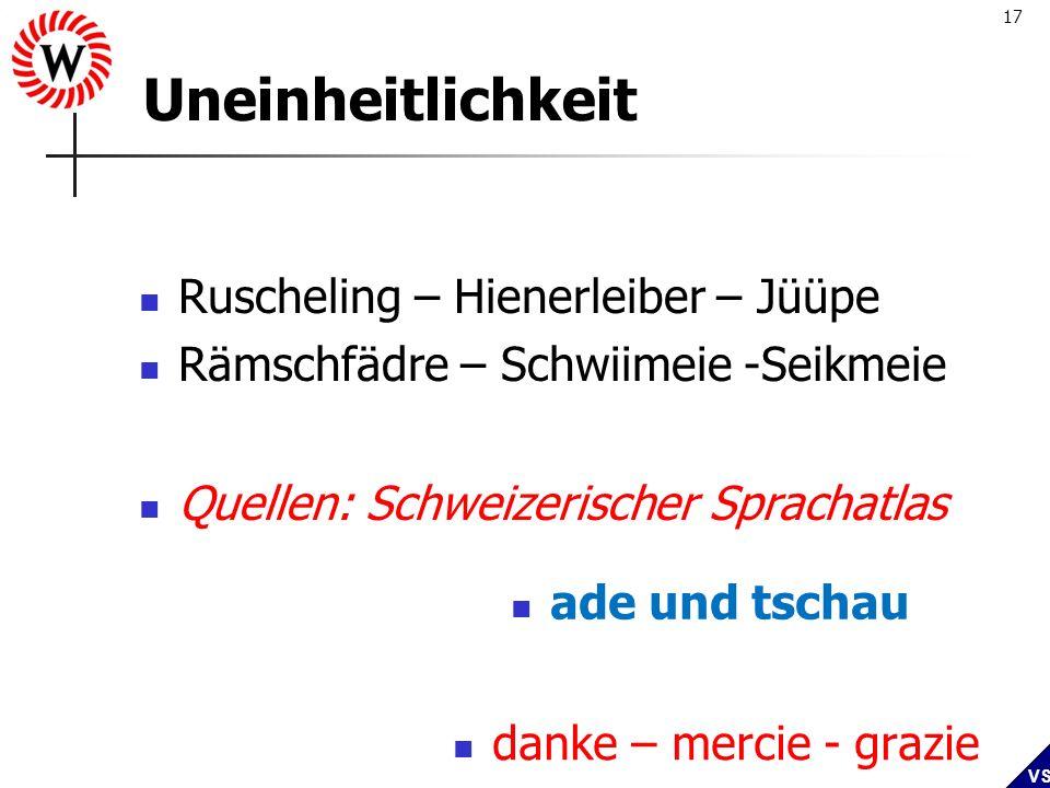 Uneinheitlichkeit Ruscheling – Hienerleiber – Jüüpe
