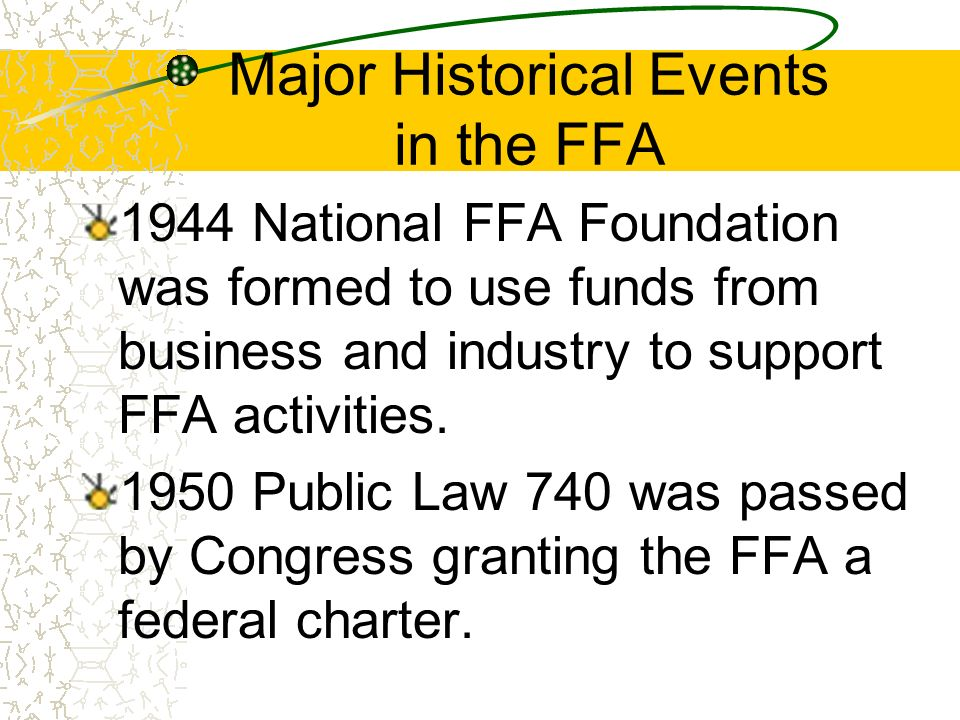 Major Historical Events in the FFA