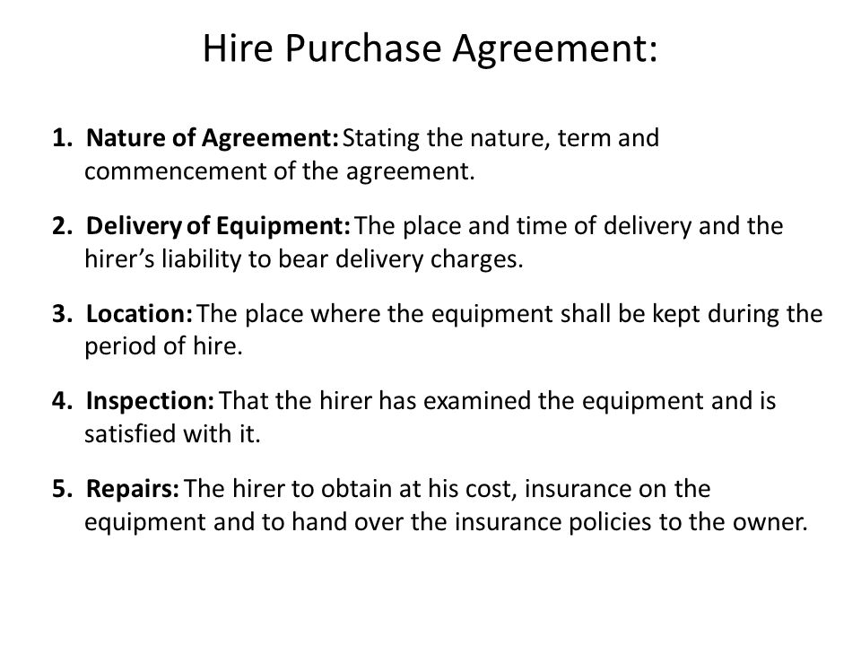 Hire Purchase Agreement: