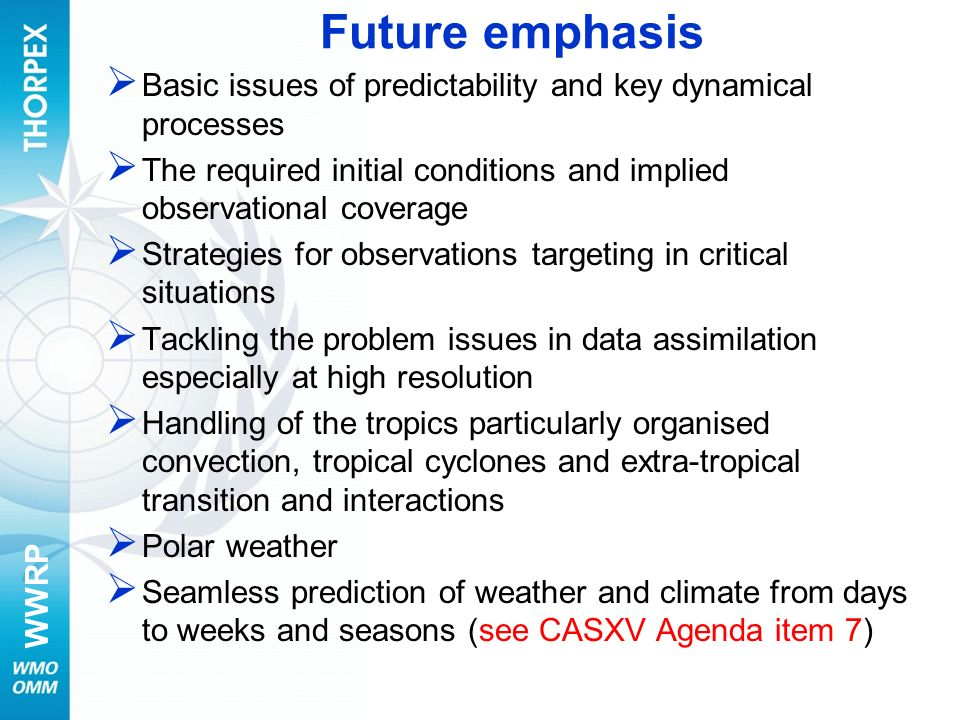 Future emphasis Basic issues of predictability and key dynamical processes. The required initial conditions and implied observational coverage.