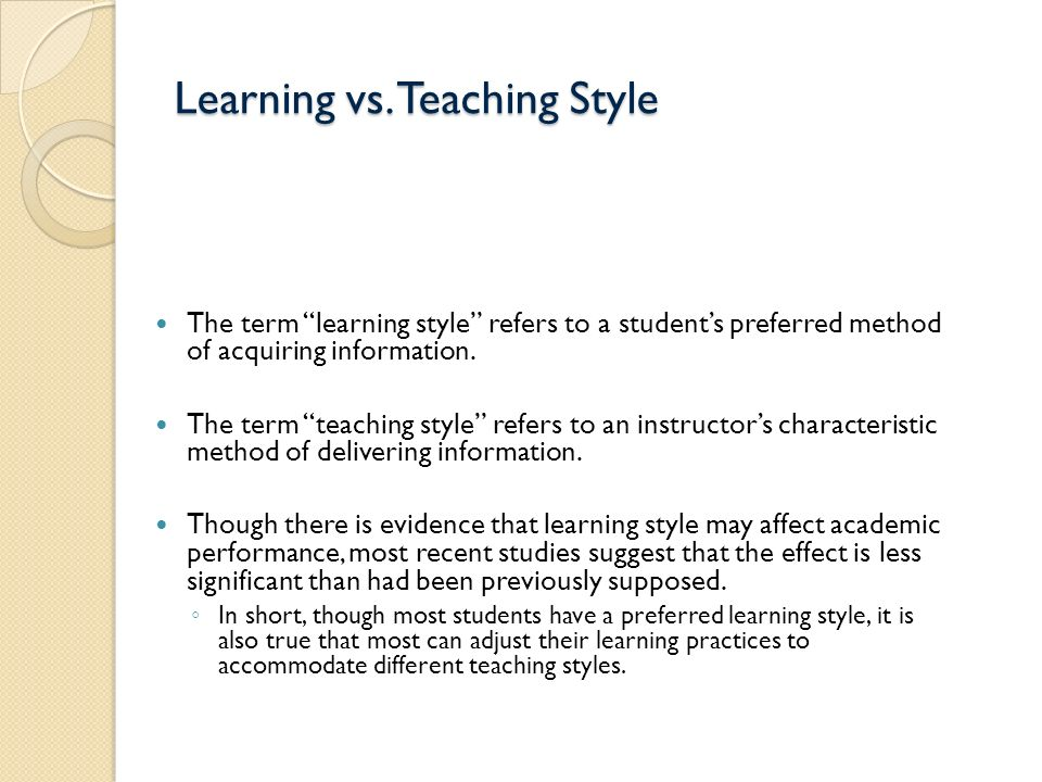 learning styles vs academic performance The relationship among learning styles, language learning strategies, and the academic achievement among the english majors at al-aqsa university presented by.