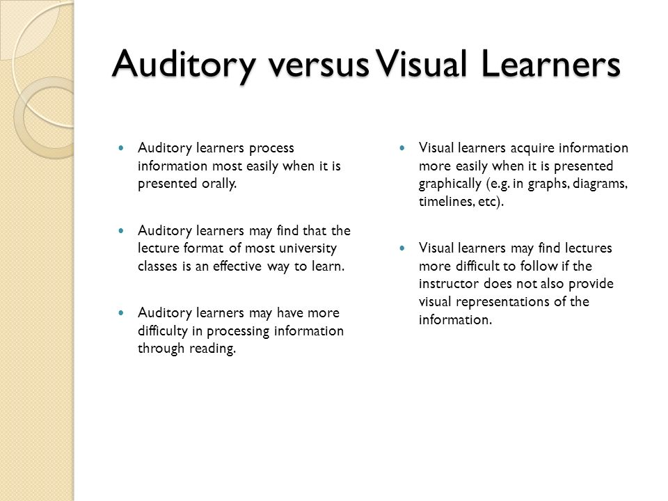 a comparison of visual learners and auditory learners Our study explored the influence of visual versus auditory learning on recall of a  memory test  significant difference in visual verses auditory recall visual.