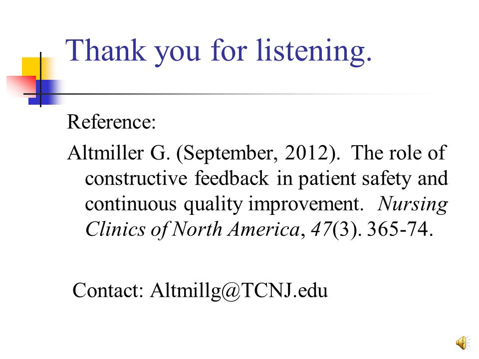 constructive feedback in nursing Since people respond better to information presented in a positive way, feedback should be expressed in a positive manner  us office of personnel management .