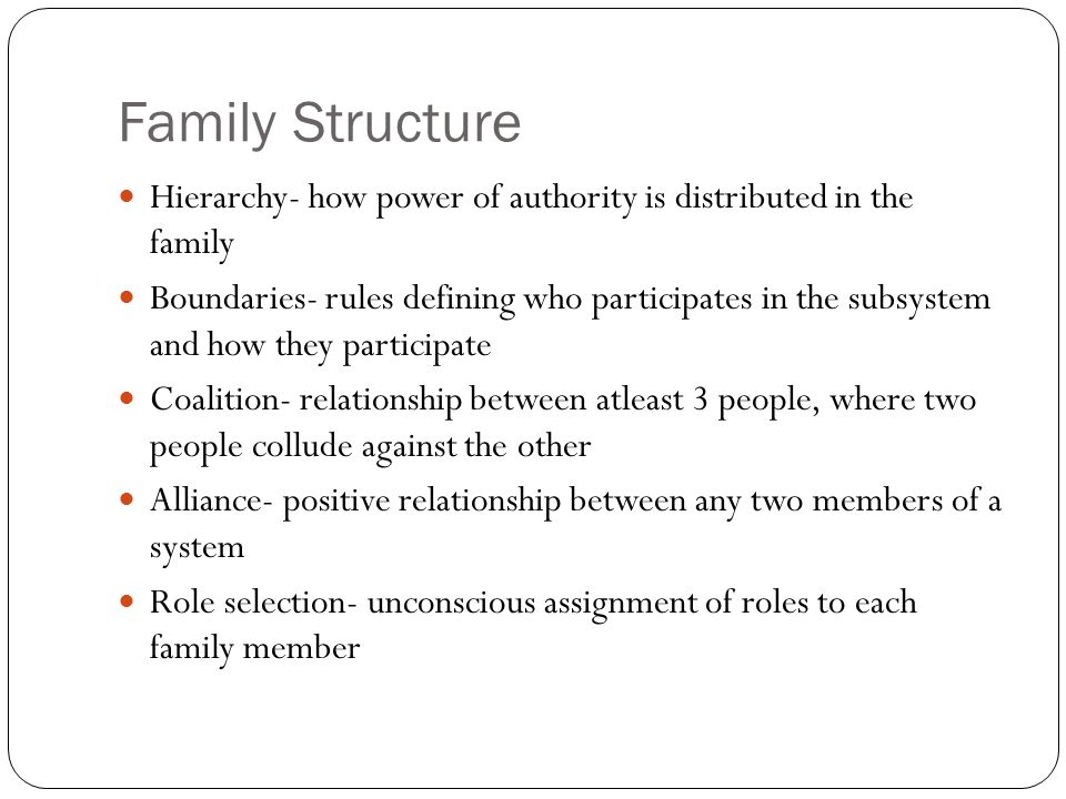 the role of family power structure Power structure definition is - a group of persons having control of an organization : establishment how to use power structure in a sentence a group of persons having control of an organization : establishment the hierarchical interrelationships existing within a controlling group.