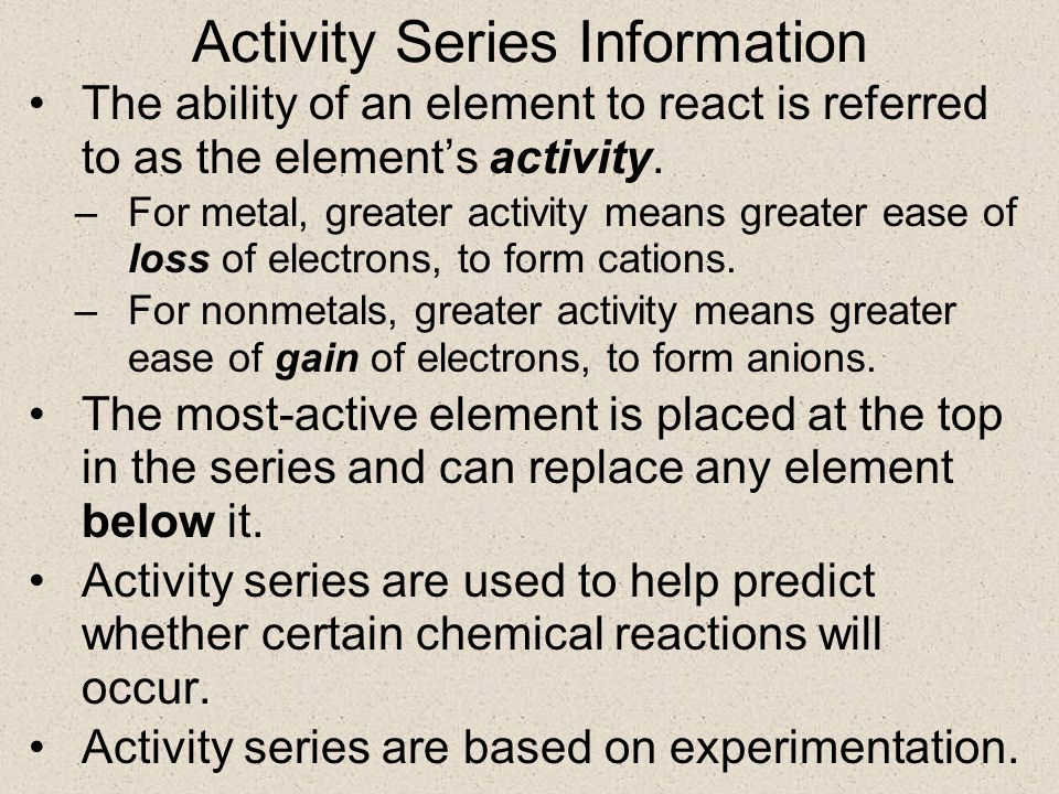 what is the information on the activity series used for Discover what a single replacement reaction is and how to identify it learn what chemical activity is, how that applies to an activity series.