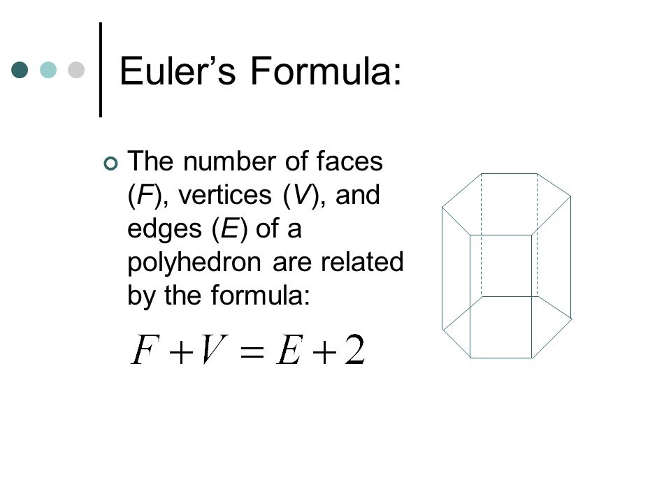 Worksheet Eulers Formula Vertices Faces Edges 10 1 2 space figures nets diagrams ppt video online 6 eulers formula the number of faces f vertices v and edges e a polyhedron are related by formula