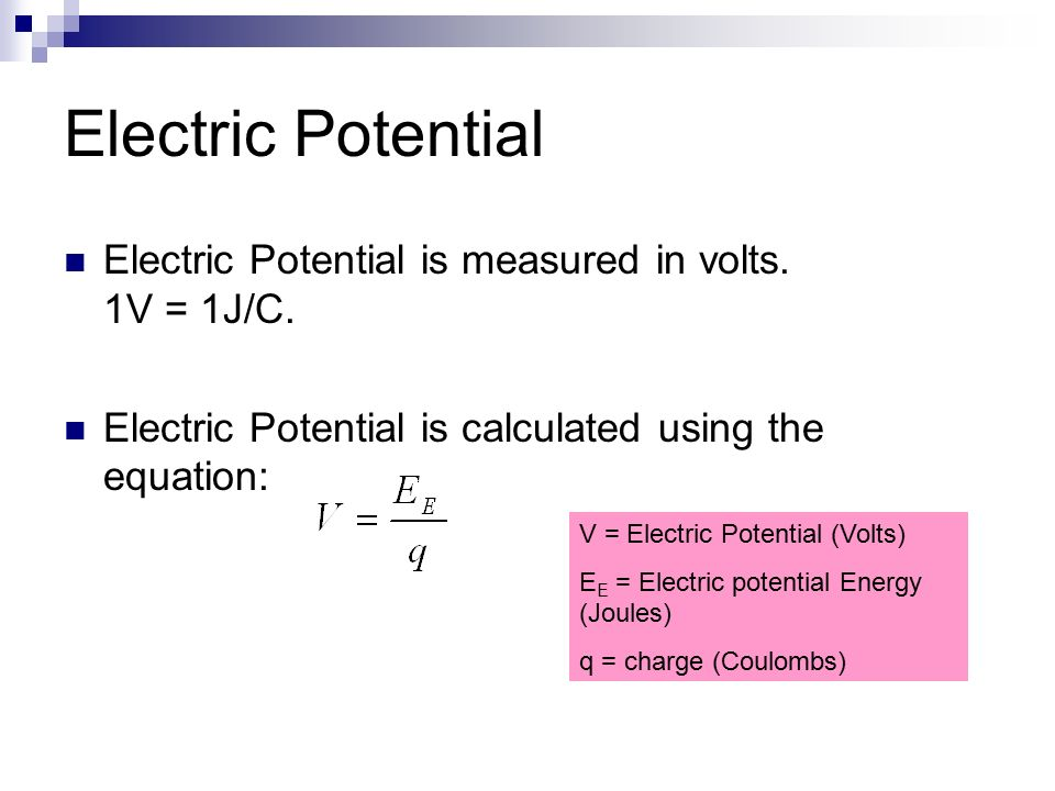 Electric potential energy equation
