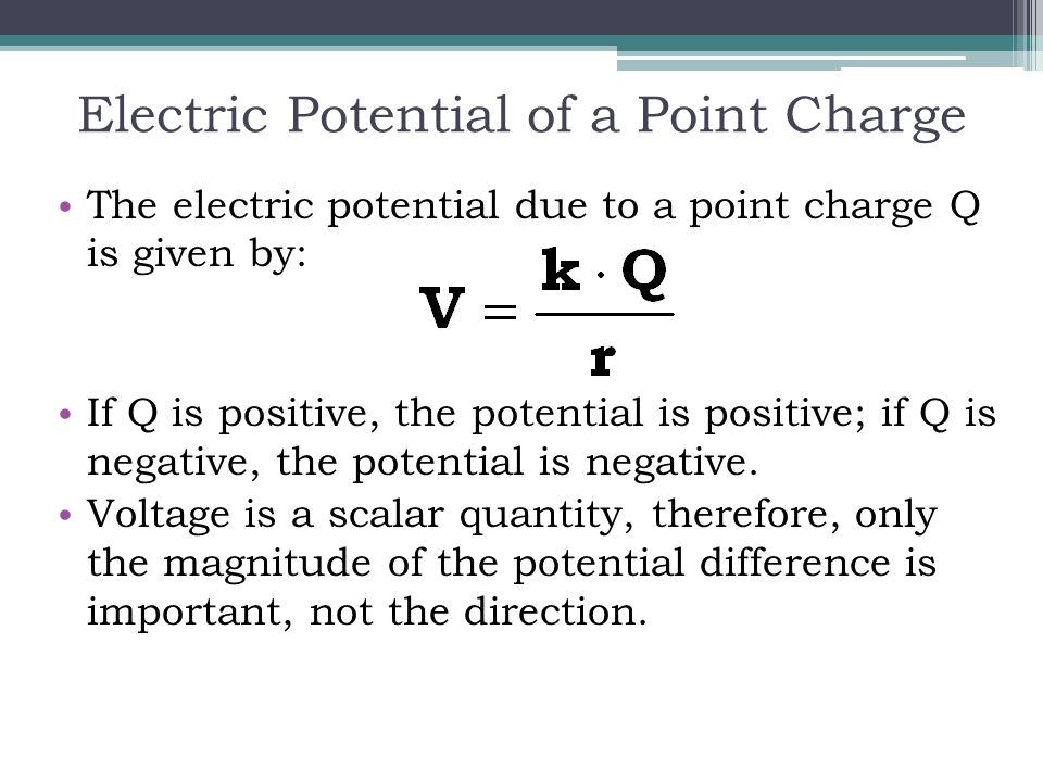 how to find potential with charge and direction
