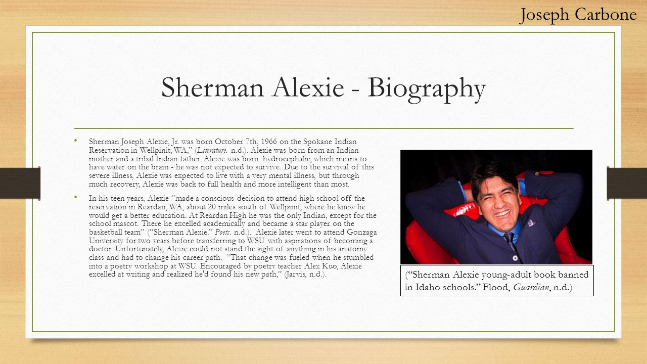 "sherman alexie 2 essay In the following short story ""the joy of reading and writing: superman and me"", sherman alexie tells his readers about his pain and suffering growing up in."