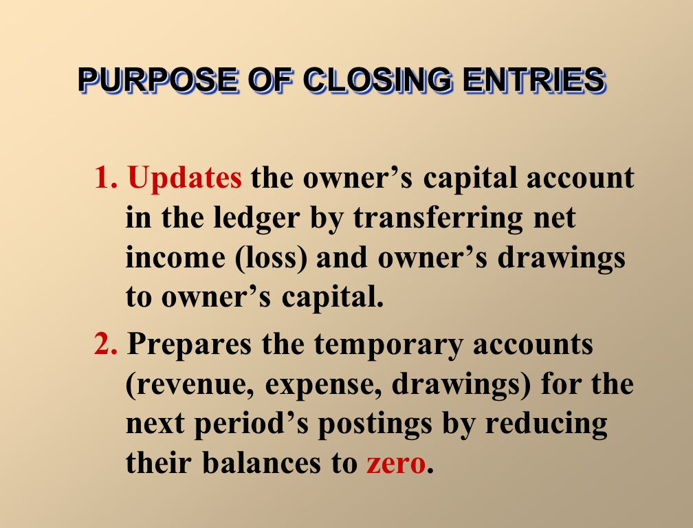 what is the result of the closing entries in accounting Closing entries revenue, expense, and capital withdrawal accounts are called temporary accounts and they are reset at the end of the accounting period so that they.