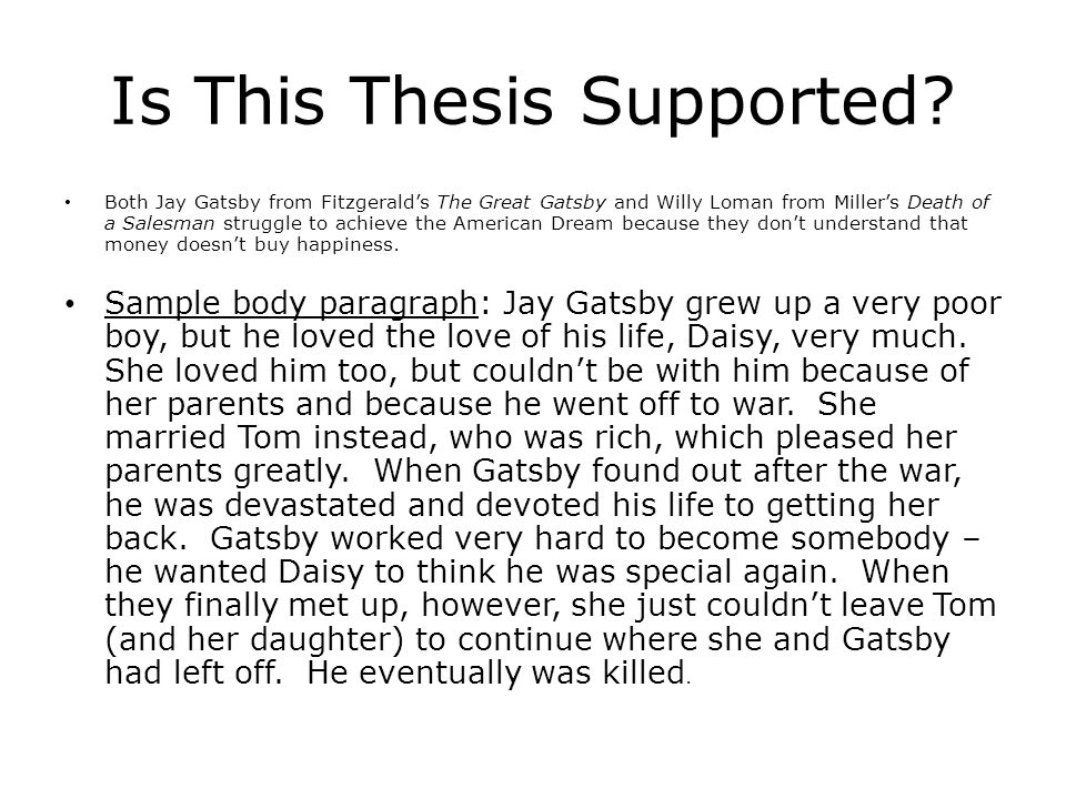 The Great Gatsbydeath Of A Salesman Analysis  Ppt Download Is This Thesis Supported