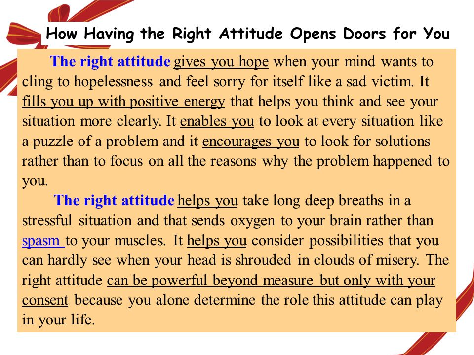 How Having the Right Attitude Opens Doors for You