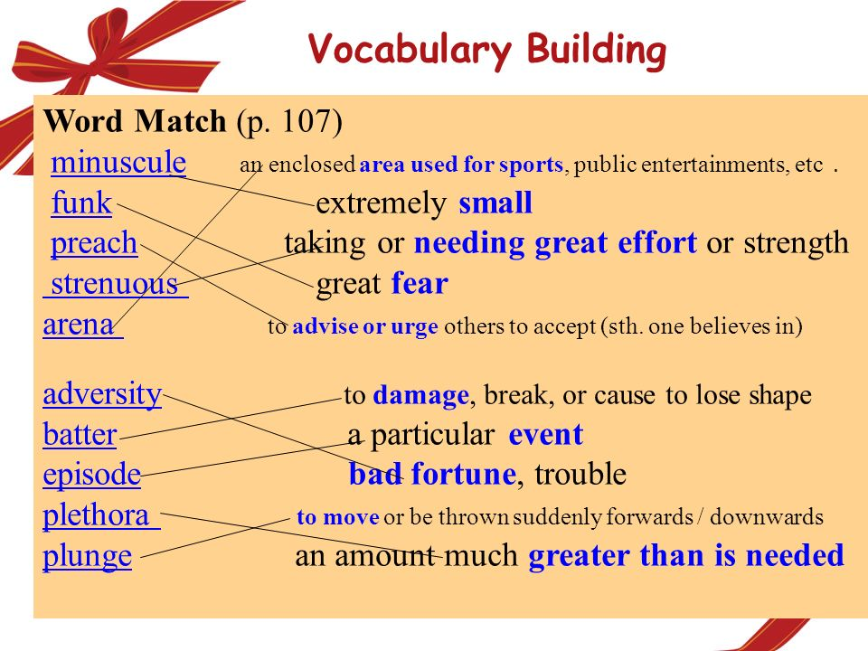Vocabulary Building Word Match (p. 107)
