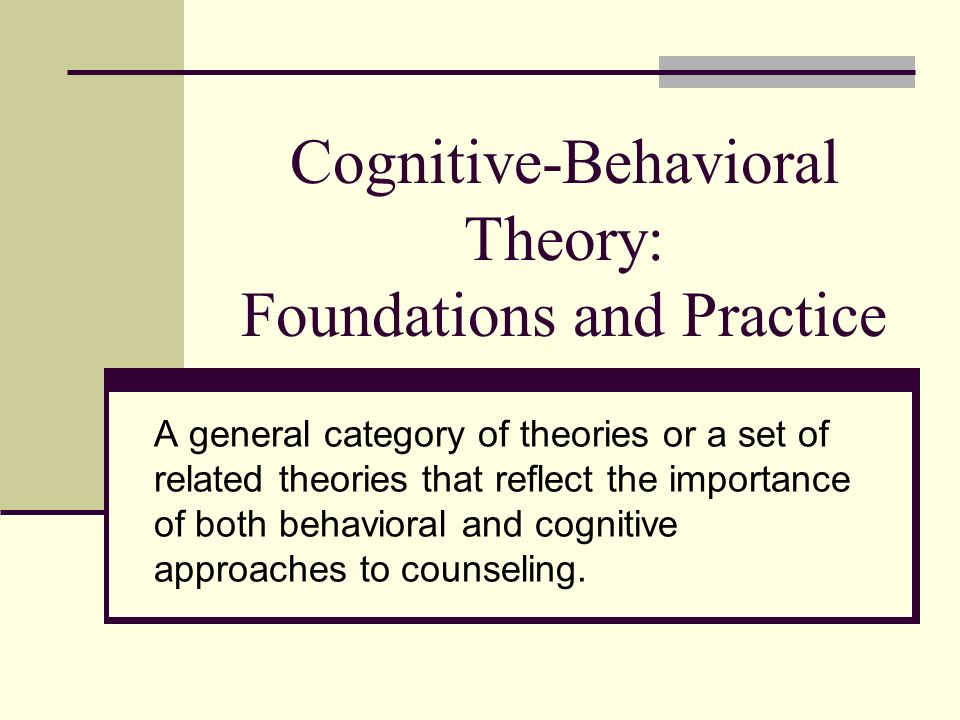 cognitive behavior theory Cognitive behavioral theory is the study of human psychology that deals with the various facets of human personality and behavior let's discuss some facts on this subject.