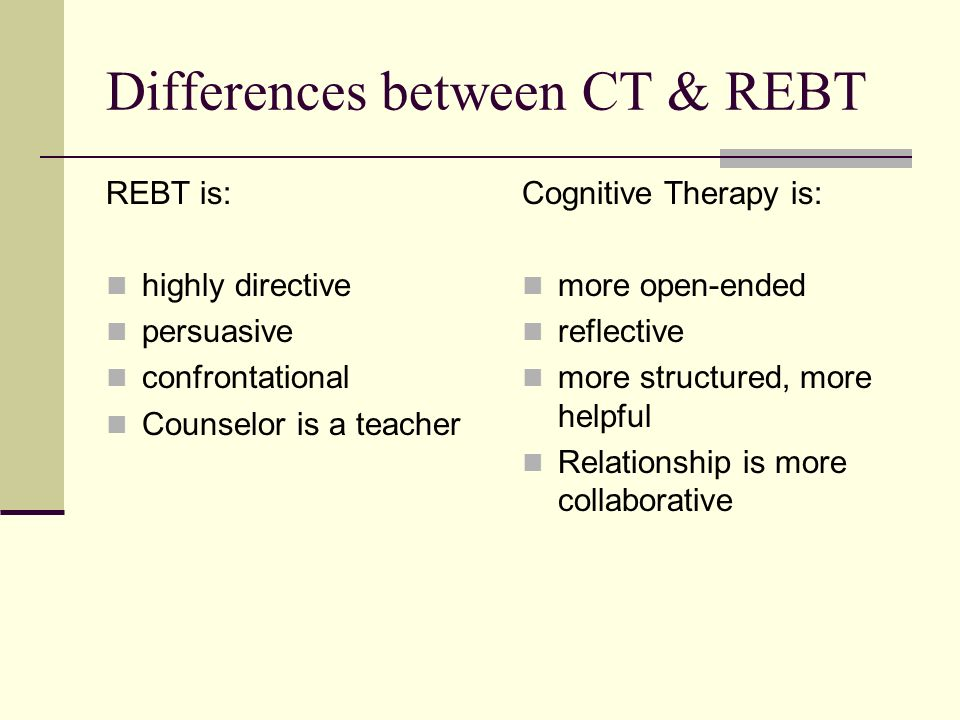 compare and contrast rebt and cct What is the difference between cbt and rebt cbt (cognitive behavioral therapy) is an umbrella term rebt (rational emotive behavioral therapy) refers to a.