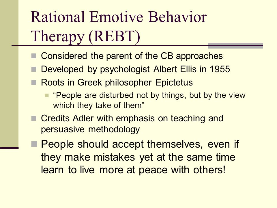 a description of the rational emotive behavior therapy summarized by understanding the a b c model f A-b-c-d model of emotional behavior therapy and rational-emotive education and the techniques rational emotive behavior therapy is a form of cognitive.