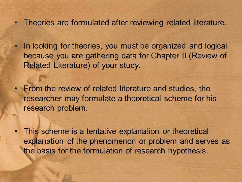 chapter 2 related literature example Personality trait thesis : chapter 2:  for example, trait anxiety may  chapter 2 review of related literature (1) chapter 7 conclusion (1.