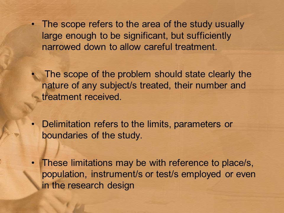 scope and delimitation of the study thesis