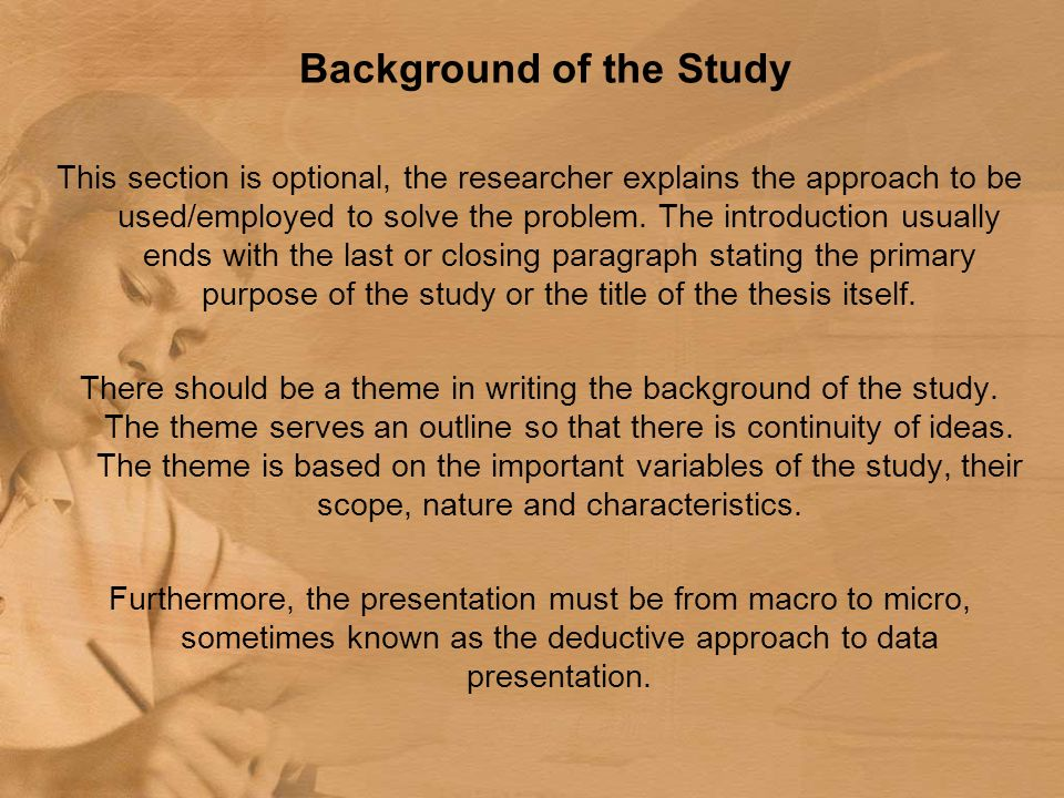 acetone background of the study essay Topic selection and analysis sample papers it allows you to provide the reader with some brief background information about the topic.