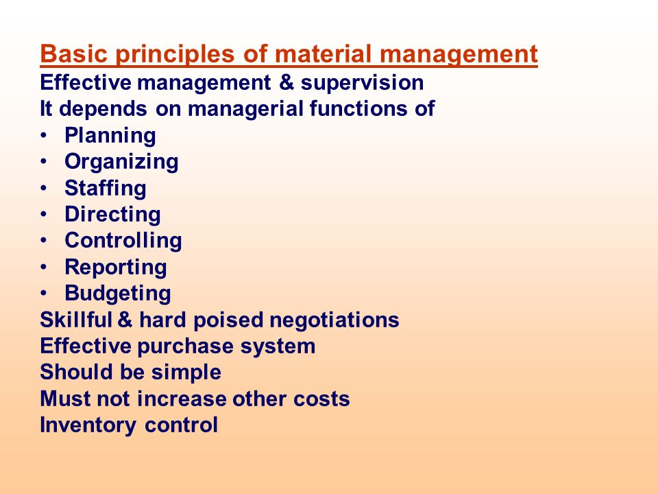 Materials Management Planning And Controlling The Flow Of