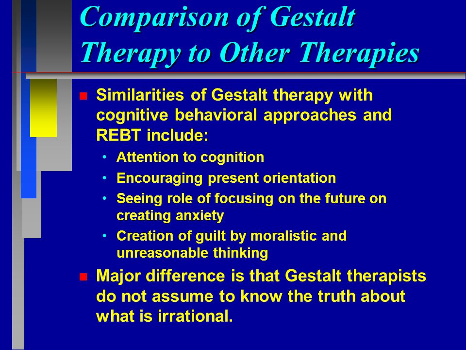 contrast and compare cbt and existential Cal treatment, cognitive behavioural therapy/cbt, cbt packages, new cbt  approaches  compared to wl, but no difference between ar and wl  improvements  suffering and existential situation, and the overall objec- tive of  treatment is to.
