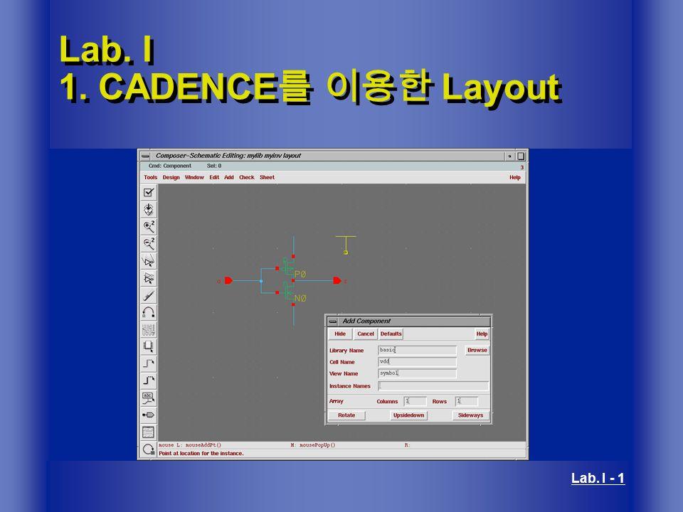 Lab  I 1  CADENCE를 이용한 Layout