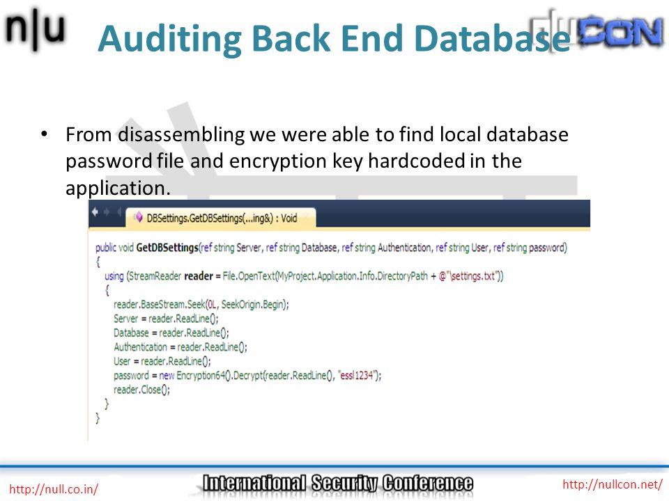 Auditing Back End Database