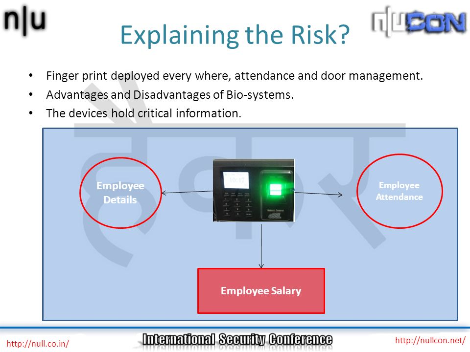Explaining the Risk Finger print deployed every where, attendance and door management. Advantages and Disadvantages of Bio-systems.